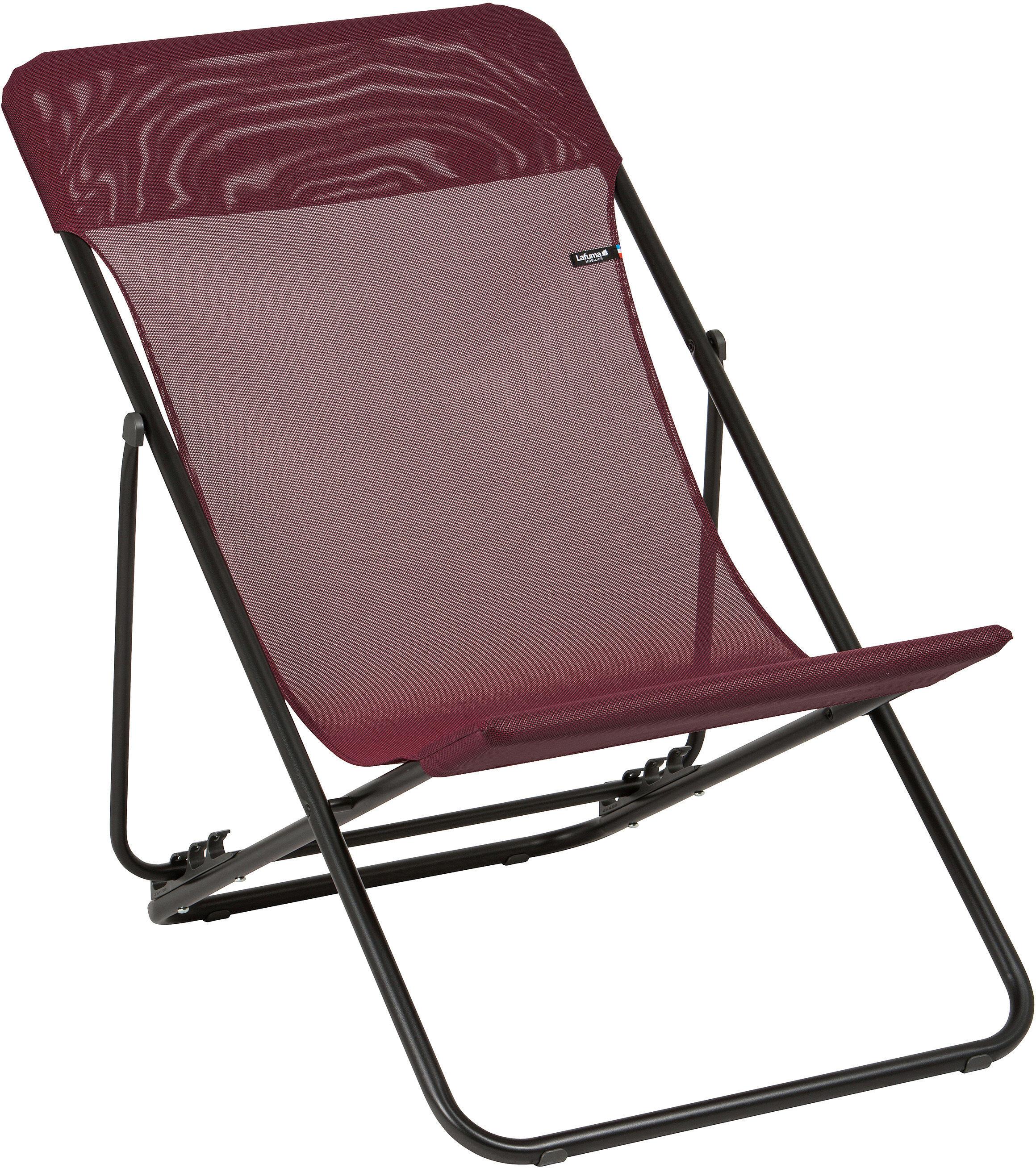 lafuma mobilier maxi transat camp stool batyline grey red. Black Bedroom Furniture Sets. Home Design Ideas